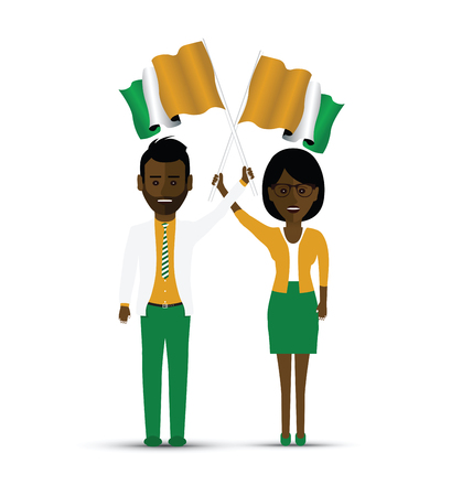 Ivory Coast flag waving man and woman