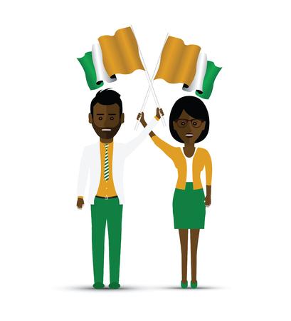 Ivory Coast flag waving man and woman