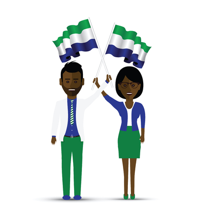sierra leone flag waving man and woman