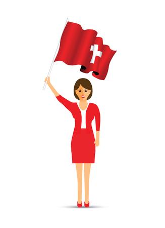 Switzerland flag waving woman