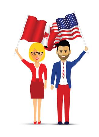 Canada and america flag waving couple