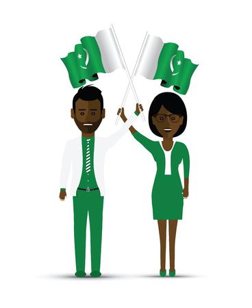 Pakistan flag waving man and woman