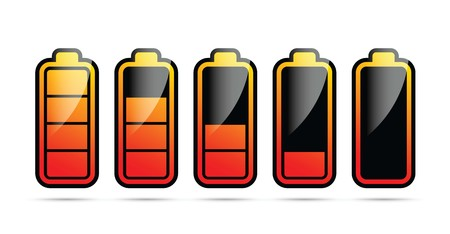 Colourful battery charging levels icon set