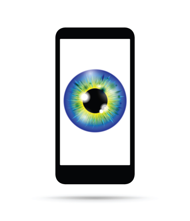 blue and yellow realistic eyeball on a cell mobile phone Banque d'images - 114880308