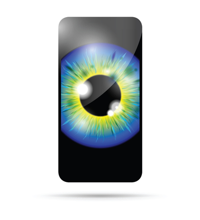 blue and yellow realistic eyeball on a cell mobile phone Banque d'images - 114880310