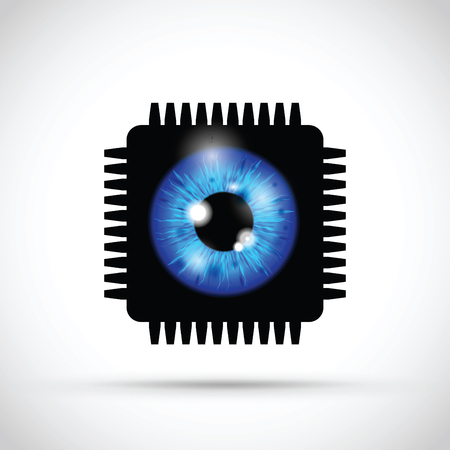 blue realistic eyeball on a microchip Banque d'images - 114880315