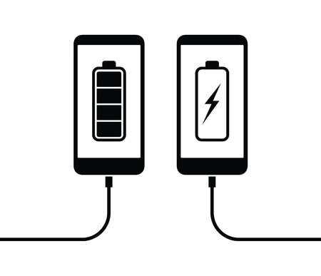 Cell mobile phone battery charging icon