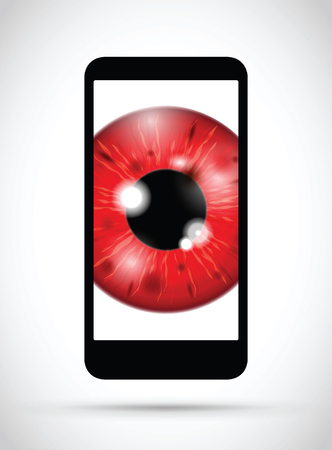 red realistic eyeball on a cell mobile phone