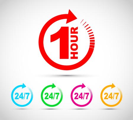 Set di icone freccia di un'ora Vettoriali