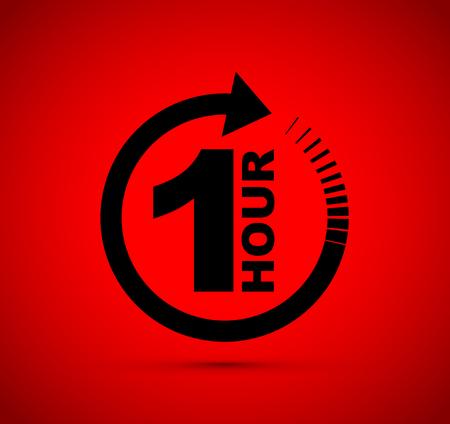 One hour arrow icon