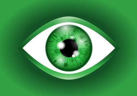 green Realistic eyeball Ilustração