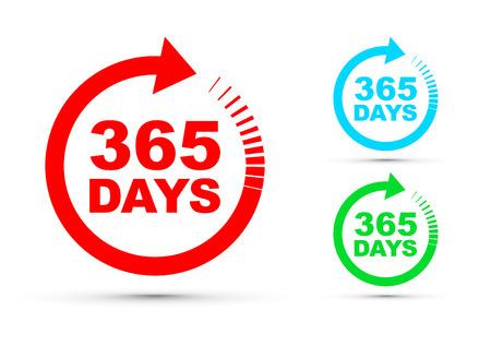 Set di icone di trecentosessantacinque giorni all'anno