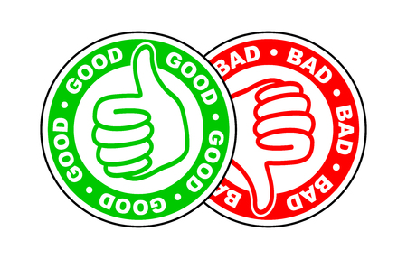 good and bad thumbs up and down icon