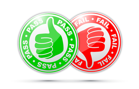 pass and fail thumbs up and down icon Illustration