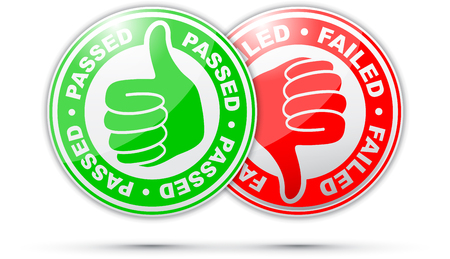 passed and failed thumbs up and down icon