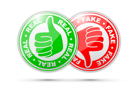 real and fake thumbs up and down icon Illustration