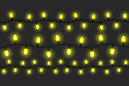 light bulbs in a line set Ilustração Vetorial