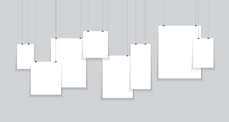 paper hanging from string Vectores