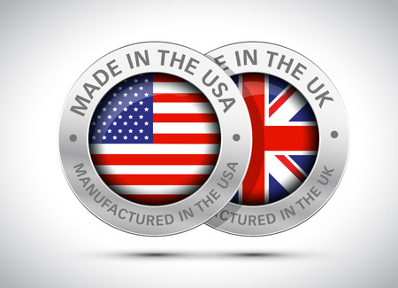 made in uk and usa flag metal icon Vectores