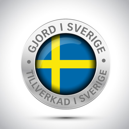 made in Sweden flag metal icon
