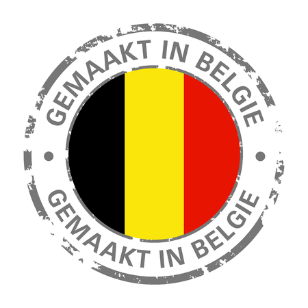 made in Belgium flag grunge icon Stock Illustratie