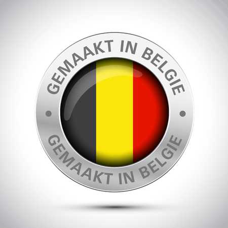 made in Belgium flag metal icon