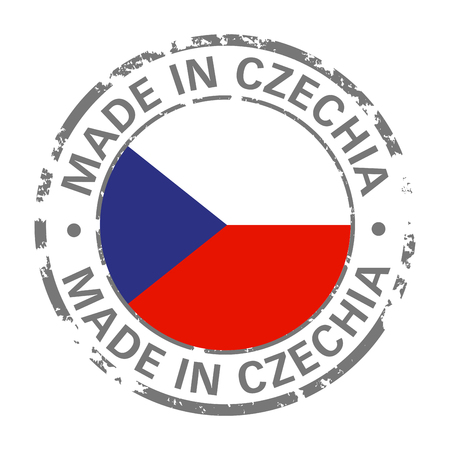 made in Czechia flag grunge icon Stock Illustratie
