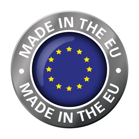 made in European Union flag metal icon Stock Illustratie