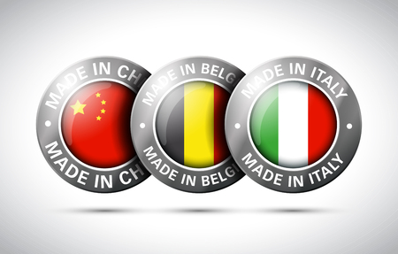 made in china belgium italy flag metal icon set