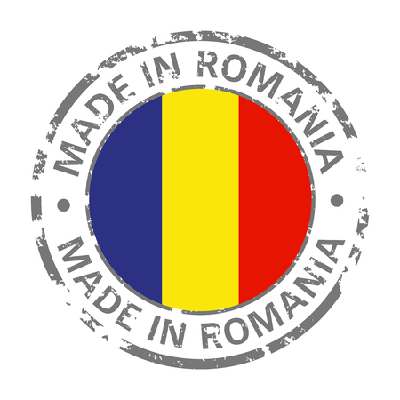 made in romania flag grunge icon Stock Illustratie
