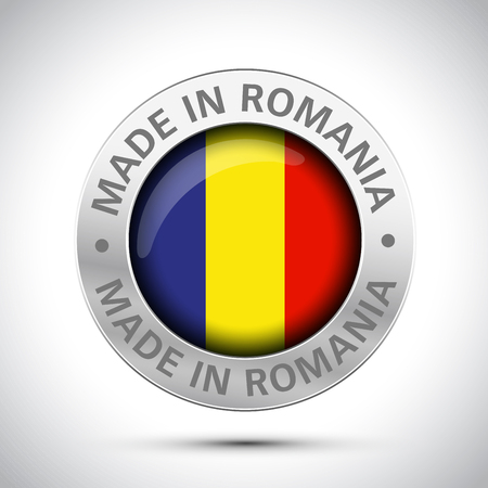 made in romania flag metal icon Stock Illustratie