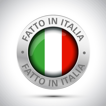 made in italy flag metal icon Stock Illustratie