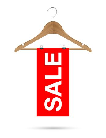 Sale sign on a wooden hanger