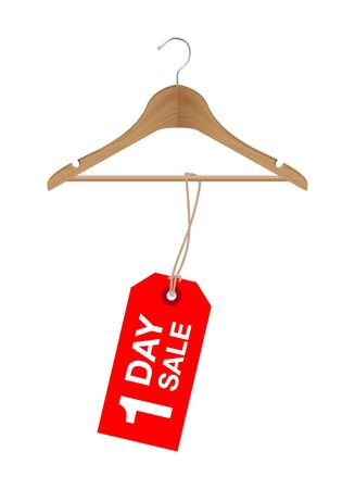 One day sale sign on a wooden hanger