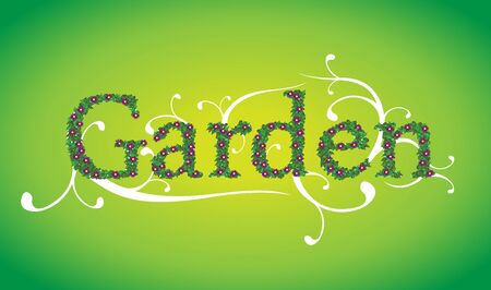Garden leaves and flowers text Stock Illustratie