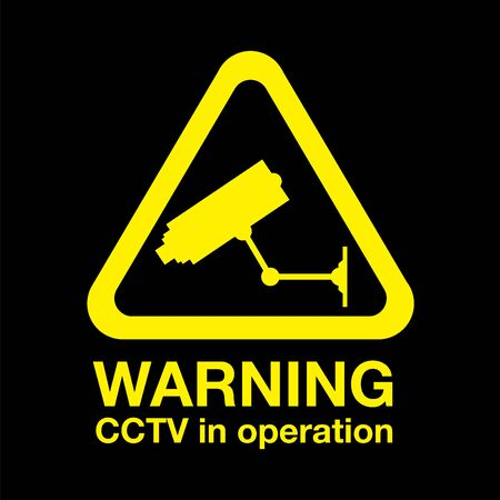 Cctv warning sign Stock Illustratie