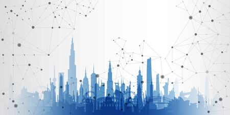 cityscape on a geometric background  イラスト・ベクター素材