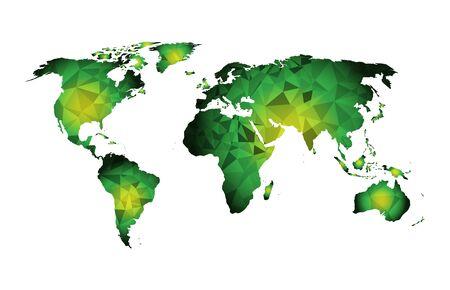 formas geométricas del triángulo del mapa del mundo verde Ilustración de vector