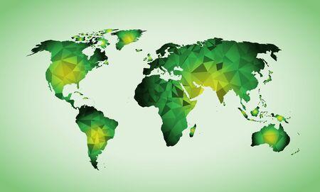 green World map triangle geometric shapes
