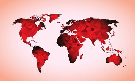 red World map triangle geometric shapes