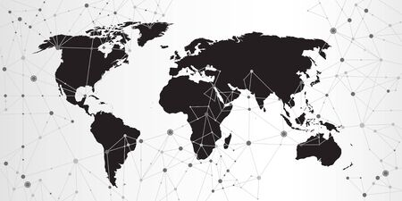 World map triangle geometric connection background