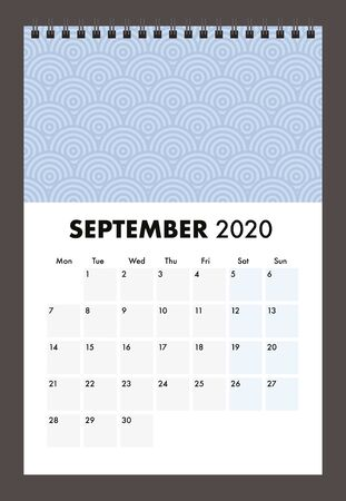 September 2020 calendar with wire band