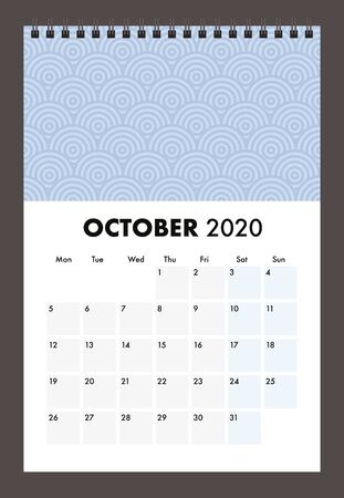 October 2020 calendar with wire band