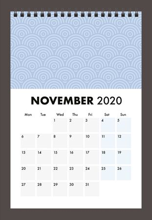 November 2020 calendar with wire band