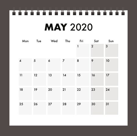 May 2020 calendar with wire band