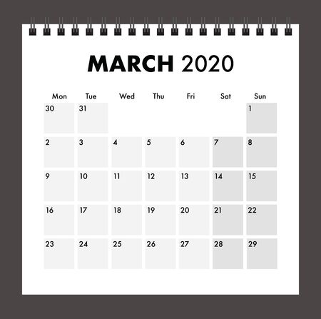 march 2020 calendar with wire band