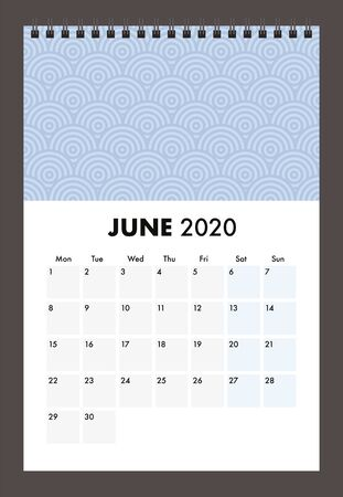 June 2020 calendar with wire band