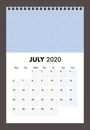 July 2020 calendar with wire band Stock Illustratie