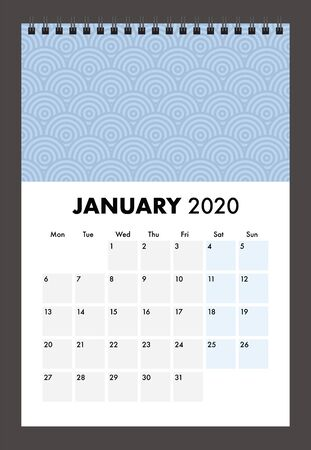 january 2020 calendar with wire band