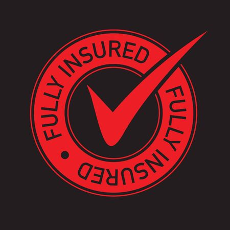 Red tick fully insured icon 向量圖像